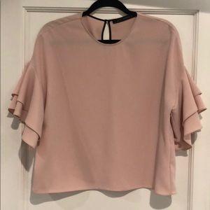 Zara light pink flutter sleeve top S